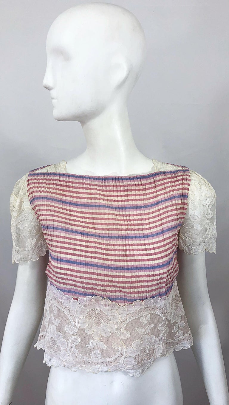Bob Mackie 1970s Stripes Size 4 Silk + Lace Vintage 70s Crop Top and Skirt Dress For Sale 2