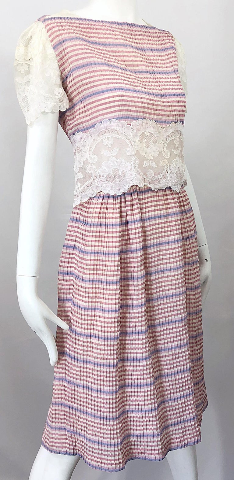 Bob Mackie 1970s Stripes Size 4 Silk + Lace Vintage 70s Crop Top and Skirt Dress For Sale 3