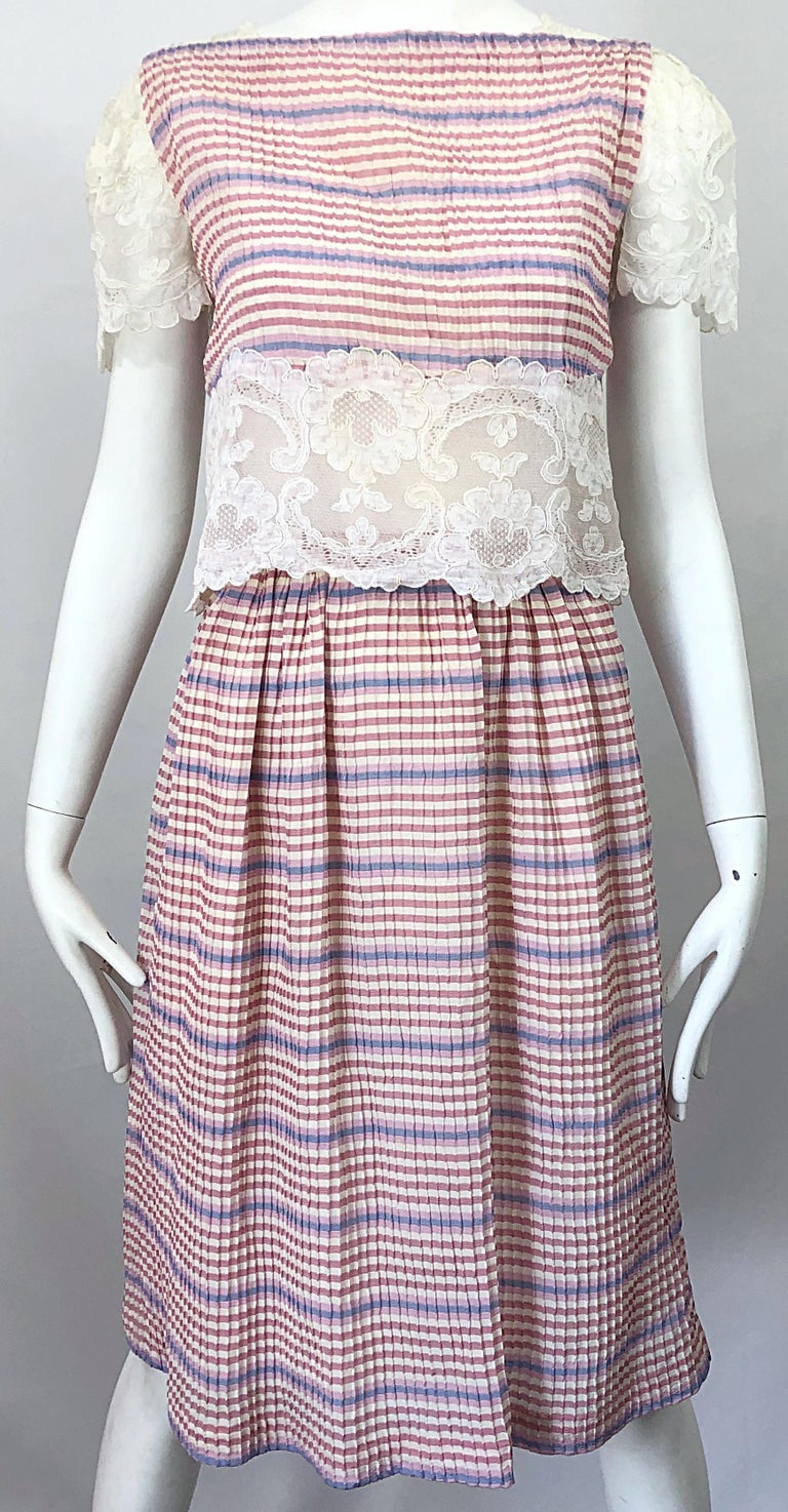 Bob Mackie 1970s Stripes Size 4 Silk + Lace Vintage 70s Crop Top and Skirt Dress For Sale 4