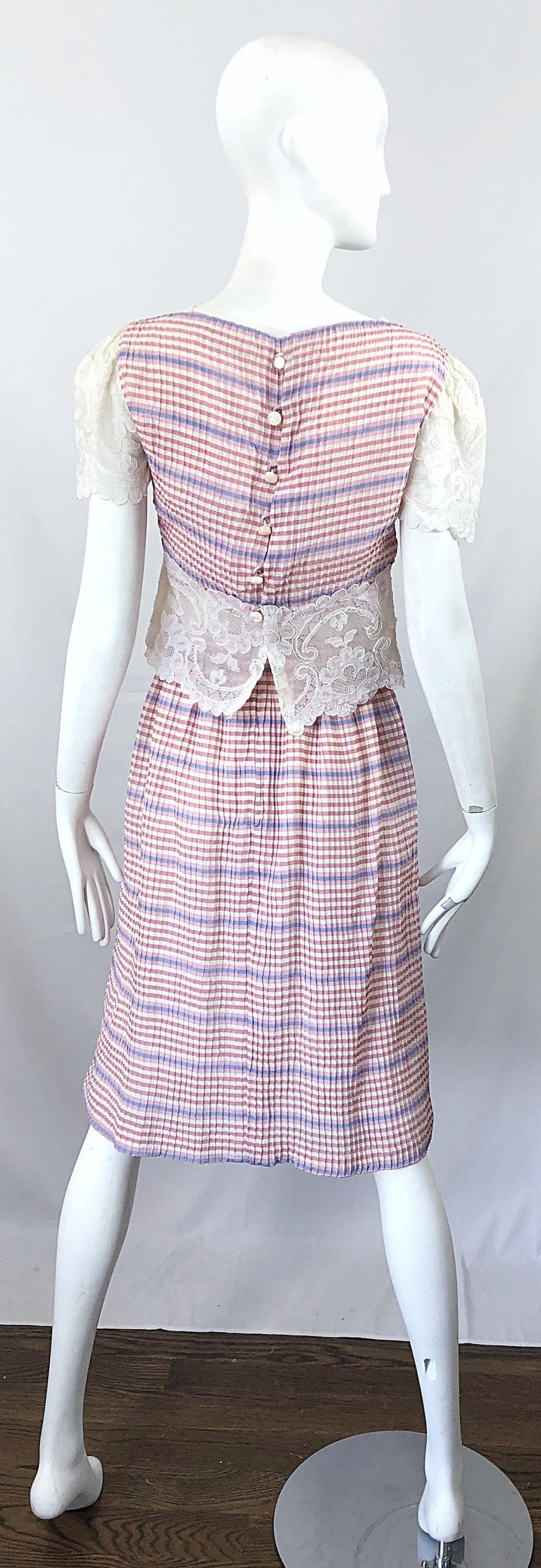 Bob Mackie 1970s Stripes Size 4 Silk + Lace Vintage 70s Crop Top and Skirt Dress For Sale 5