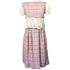 Bob Mackie 1970s Stripes Size 4 Silk + Lace Vintage 70s Crop Top and Skirt Dress