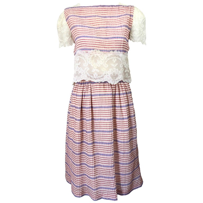 Bob Mackie 1970s Stripes Size 4 Silk + Lace Vintage 70s Crop Top and Skirt Dress For Sale