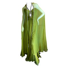 Bob Mackie 70's Sheer Silk Chiffon Beaded Keyhole Gown with Matching Cape