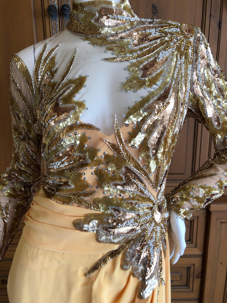 a0693c68 Bob Mackie 80's Sheer Illusion Gold Bugle Bead Sequin Embellished Evening  Dress In Excellent Condition For