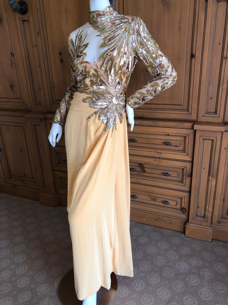 d0f3b196 Bob Mackie 80's Sheer Illusion Gold Bugle Bead Sequin Embellished Evening  Dress For Sale 1