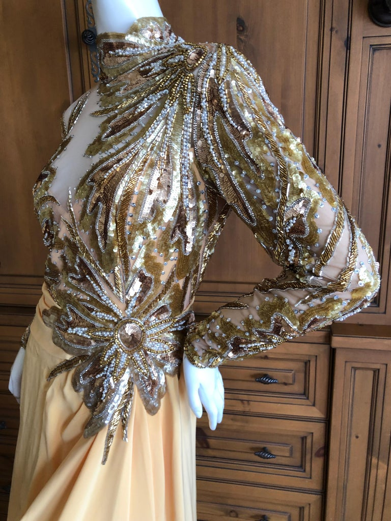 0cd2bab3 Bob Mackie 80's Sheer Illusion Gold Bugle Bead Sequin Embellished Evening  Dress For Sale 2