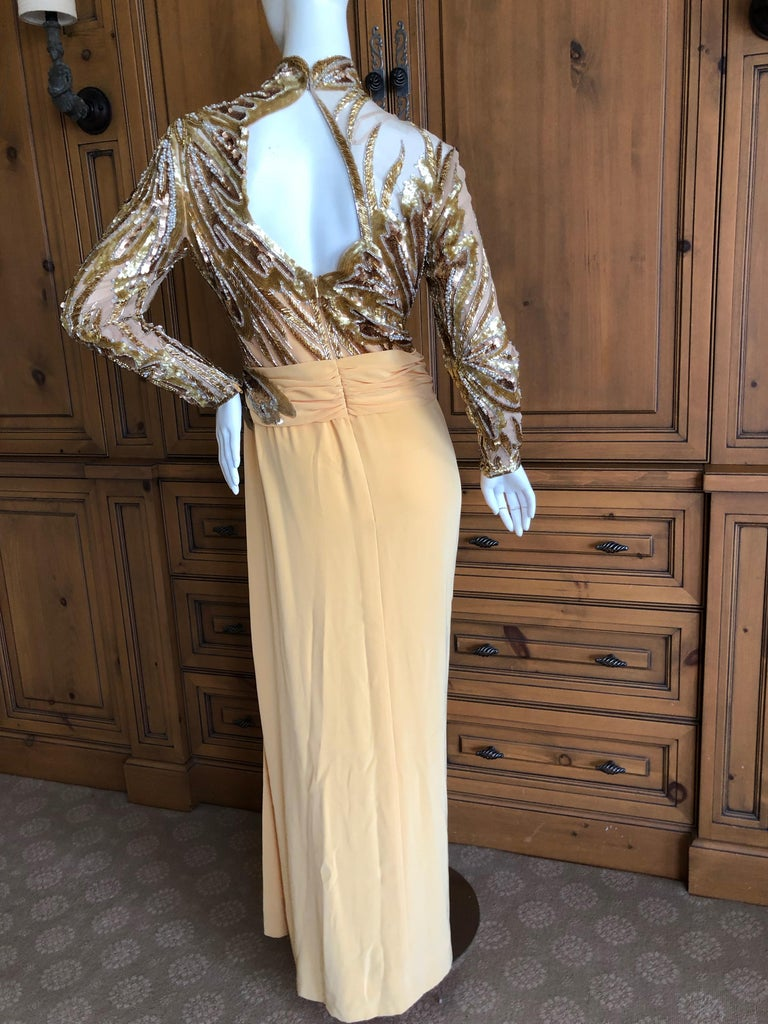 Bob Mackie 80's Sheer Illusion Gold Bugle Bead Sequin Embellished Evening Dress For Sale 3