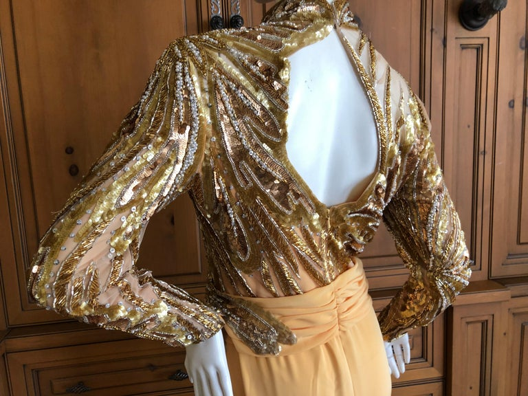 301f21ee Bob Mackie 80's Sheer Illusion Gold Bugle Bead Sequin Embellished Evening  Dress For Sale 4