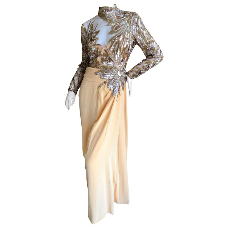 7bb7c76d Bob Mackie 80's Sheer Illusion Gold Bugle Bead Sequin Embellished Evening  Dress For Sale