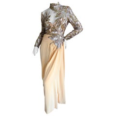 Bob Mackie 80's Sheer Illusion Gold Bugle Bead Sequin Embellished Evening Dress