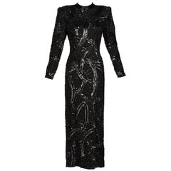 Bob Mackie Attributed Black Beaded Sequins Dress, 1980s