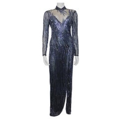 Bob Mackie Black Mesh w/ Blue Beading Long Sleeve High Neck Gown Circa 1990s