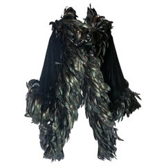 Bob Mackie Black Velvet Jacket Coat w/Feather Trim