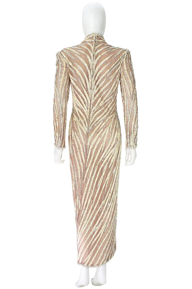 Bob Mackie Cream Sequin Beaded Gown with Slit For Sale at