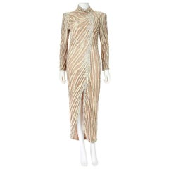 Bob Mackie Cream Sequin Beaded Gown with Slit