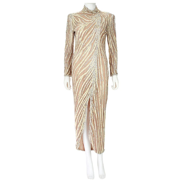 Bob Mackie Champagne Silk Gold and Silver Beaded Long
