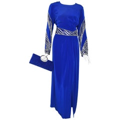 Bob Mackie Evening Sapphire Blue Beaded Sequined 1980s Gown Remodeled Size 12