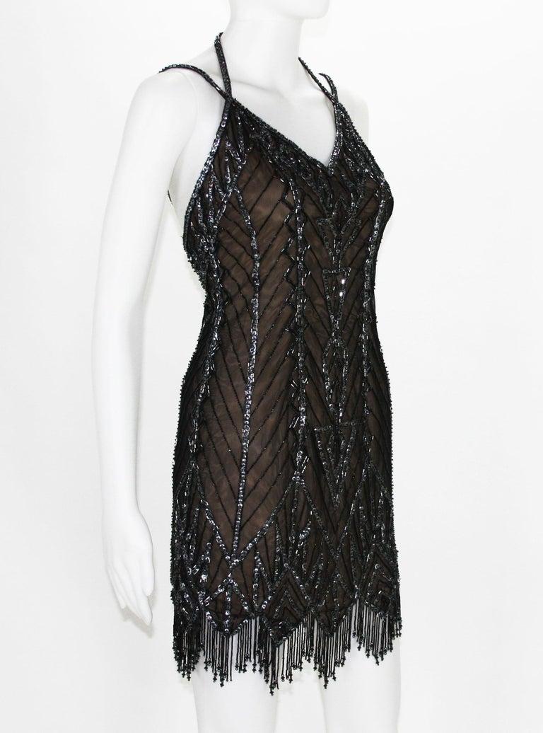 Bob Mackie F/W 1991 Black Mini Fully Beaded Fringe Dress