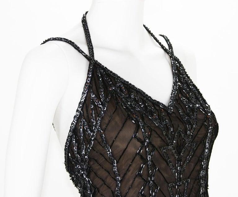 Bob Mackie Nude Mini Fully Beaded Fringe Dress, F / W 1991