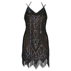 Bob Mackie F/W 1991 Black Mini Fully Beaded Fringe Dress