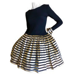 Bob Mackie Gold and Black Vintage Cocktail Dress w Ballerina Skirt & Petticoats
