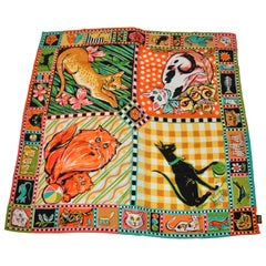 "Bob Mackie Huge Wonderfully Whimsical Vivid ""World of Cats"" Silk Scarf"