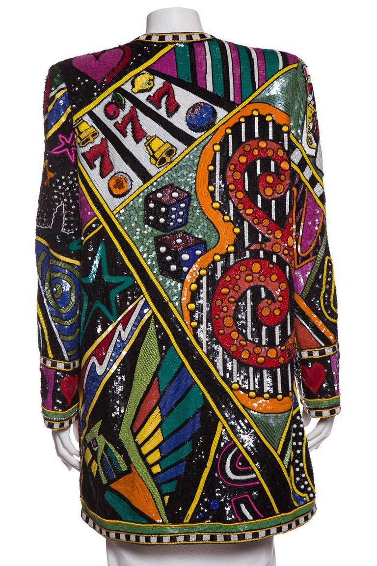 BOB MACKIE  Monte Carlo Bead Embellished Casino Motif Jacket SZ M For Sale 2