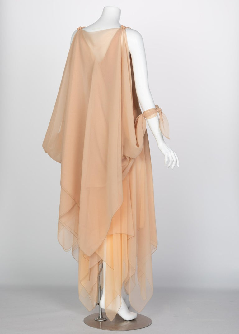 Bob Mackie Ray Aghayan Peach Chiffon Layered Dress Cape Shawl In Good Condition For Sale In Boca Raton, FL