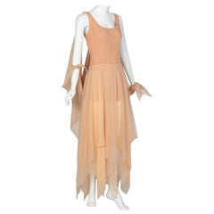 Bob Mackie Ray Aghayan Peach Chiffon Layered Dress Cape Shawl