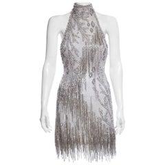 BOB MACKIE Silver Beaded Dress Size Small