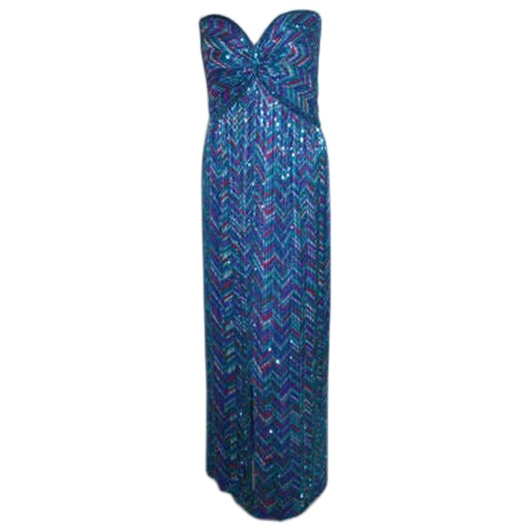 Bob Mackie Strapless Beaded Gown, Circa 1980 For Sale