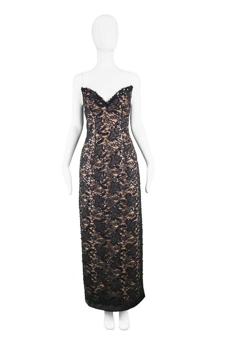 "Bob Mackie Vintage 1990s Sequinned Nude & Black Lace Pointed Bodice Evening Gown  Estimated Size: UK 6/ US 2/ EU 34. Please check measurements.   Bust - 32"" / 81cm Waist - 24"" / 61cm Hips - 34"" / 86cm Length (Bust to Hem) - 48"" / 122cm  Condition:"