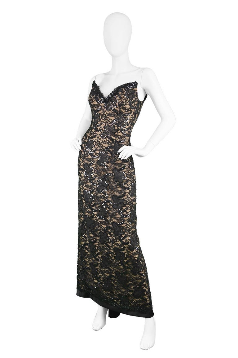 Bob Mackie Vintage 1990s Sequinned Nude & Black Lace Pointed Bodice Evening Gown For Sale 1