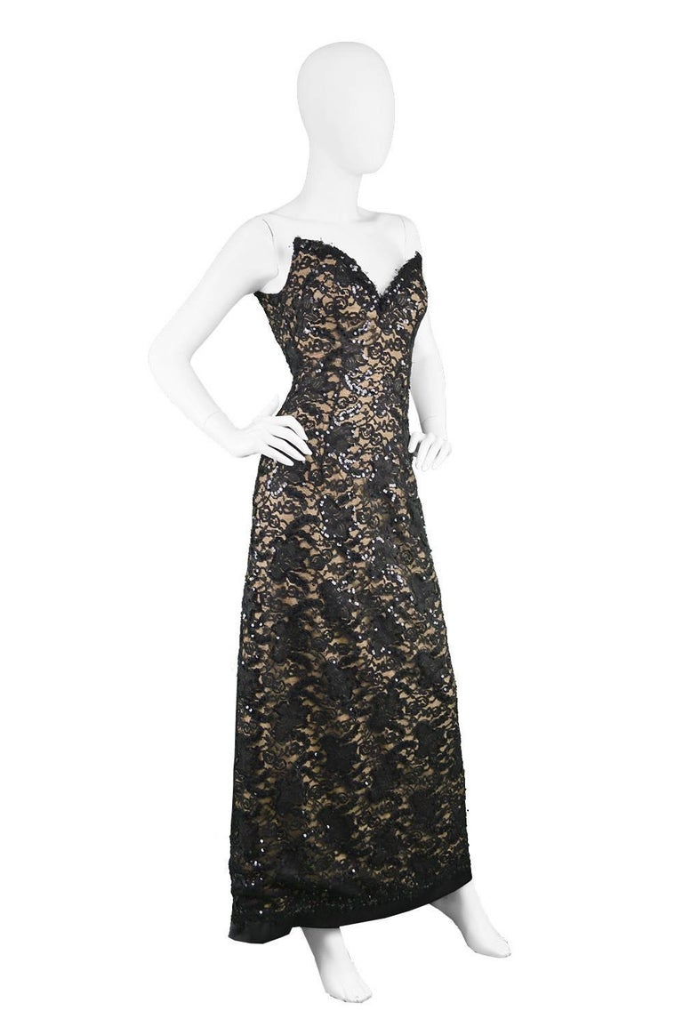Bob Mackie Vintage 1990s Sequinned Nude & Black Lace Pointed Bodice Evening Gown For Sale 3