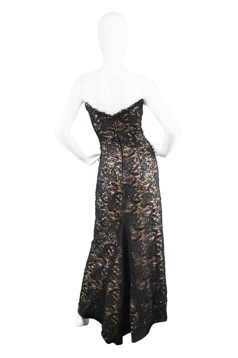 Bob Mackie Vintage 1990s Sequinned Nude & Black Lace Pointed Bodice Evening Gown For Sale 4