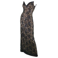 Bob Mackie Vintage 1990s Sequinned Nude & Black Lace Pointed Bodice Evening Gown