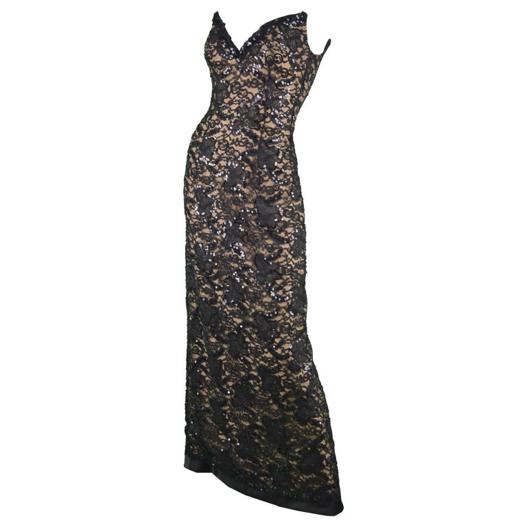 Bob Mackie Vintage 1990s Sequinned Nude & Black Lace Pointed Bodice Evening Gown For Sale