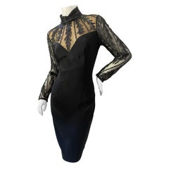 Bob Mackie Vintage 80's Sheer Beaded Lace Like Evening Dress