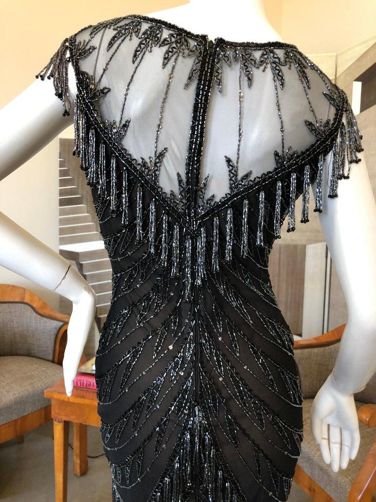 Vintage 80s Black Velvet Sheer Long Sleeve Fringed Wiggle Mini Dress S  Western Fringed Black Mini Dress S M 910