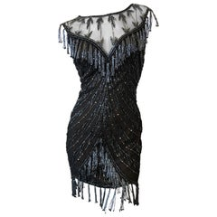 Bob Mackie Vintage 80's  Sheer Little Black Dress with Bugle Bead Fringe