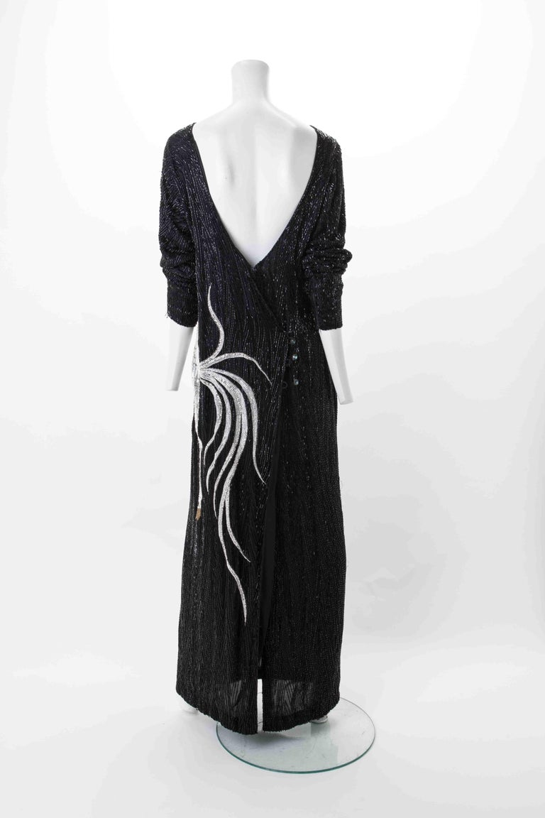 Bob Mackie Vintage Couture Black Silk Beaded Gown with Unicorn motif. c.1980s. In Good Condition For Sale In New York, NY