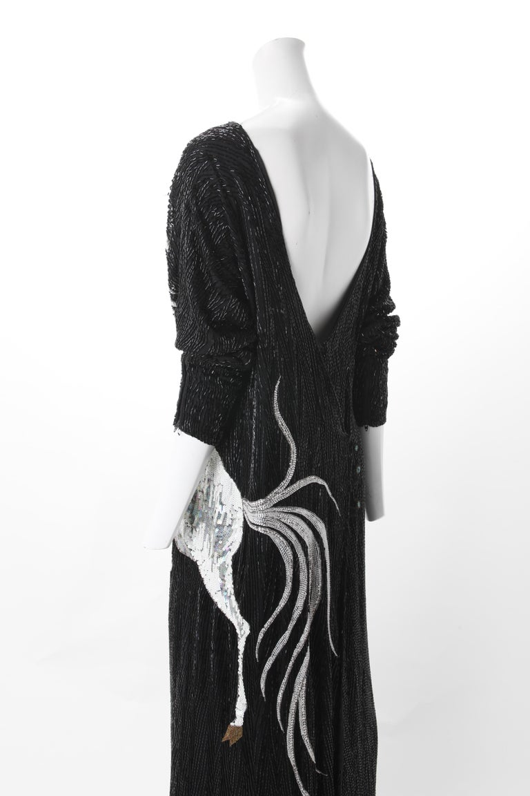 Women's Bob Mackie Vintage Couture Black Silk Beaded Gown with Unicorn motif. c.1980s. For Sale