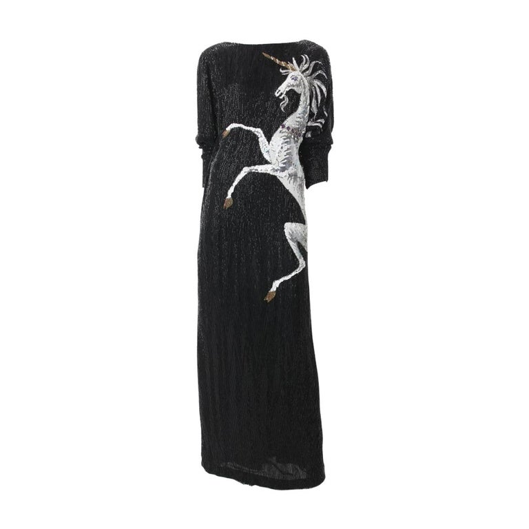 Bob Mackie Vintage Couture Black Silk Beaded Gown with Unicorn motif. c.1980s. For Sale