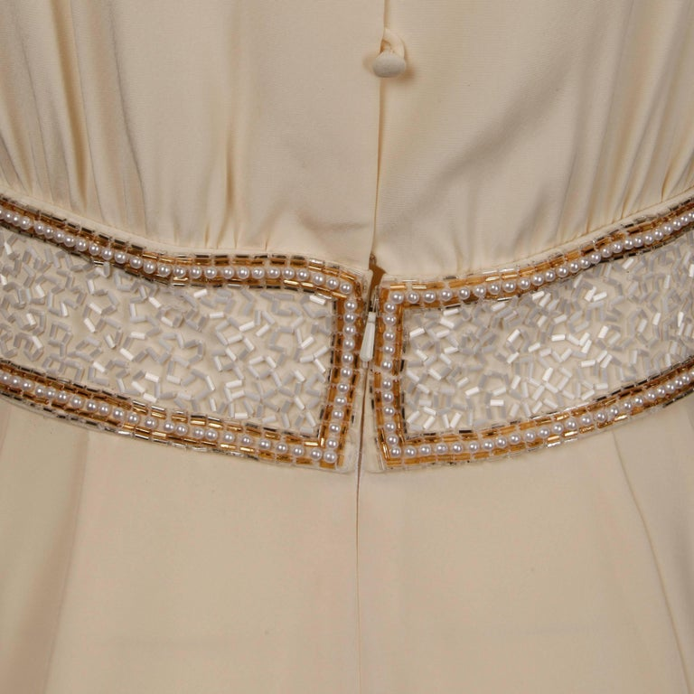 Bob Mackie Vintage Cream Jumpsuit with Metallic Gold and White Beaded Waistband For Sale 5