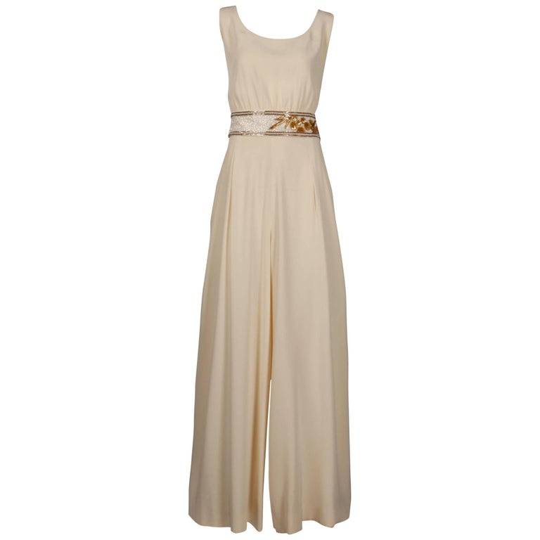 Beige Bob Mackie Vintage Cream Jumpsuit with Metallic Gold and White Beaded Waistband For Sale