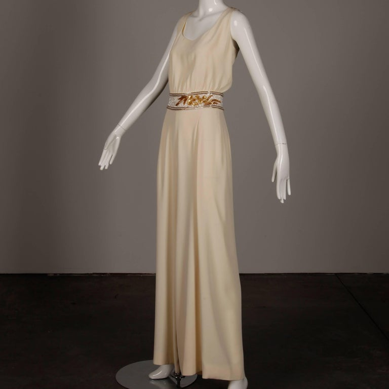 Bob Mackie Vintage Cream Jumpsuit with Metallic Gold and White Beaded Waistband In Excellent Condition For Sale In Sparks, NV