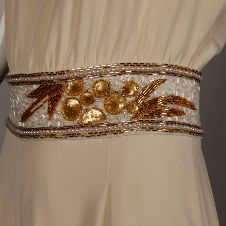 Bob Mackie Vintage Cream Jumpsuit with Metallic Gold and White Beaded Waistband For Sale 1