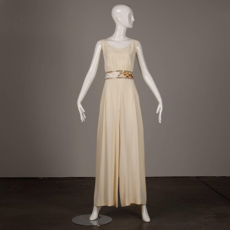 Bob Mackie Vintage Cream Jumpsuit with Metallic Gold and White Beaded Waistband For Sale 2