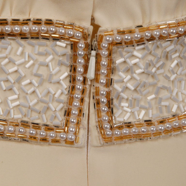 Bob Mackie Vintage Cream Jumpsuit with Metallic Gold and White Beaded Waistband For Sale 3