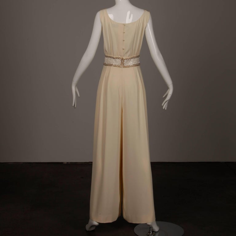 Bob Mackie Vintage Cream Jumpsuit with Metallic Gold and White Beaded Waistband For Sale 4